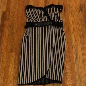 Eva Franco black and beige striped strapless dress